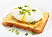 Poached egg on bread over white plat — Stock Photo