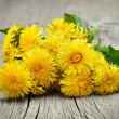 Dandelion flowers on wooden background — Stock Photo #74143455