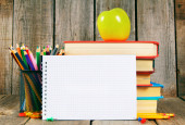 Notebook, books and school tools. — Stock Photo