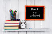 Back to school. Frame. Books and school tools. — Foto Stock