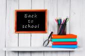 Books and school tools on wooden shelf. — Φωτογραφία Αρχείου