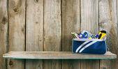 School tools in a case. On wooden background. — Φωτογραφία Αρχείου