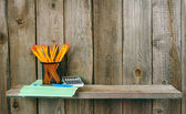 School accessories. On wooden background. — Φωτογραφία Αρχείου