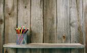 Pencils on a wooden shelf. — Φωτογραφία Αρχείου