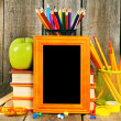 Back to school. Books and school tools on wooden background. — Stock Photo #52039533