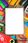 Notebook and school tools around. — Foto Stock