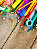 School tools. On wooden background. — Stock Photo