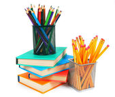 Books and pencils. On white background. — Stock Photo