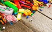 Okuldan araçları. ahşap arka plan üzerinde. — Stok fotoğraf