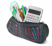 Bag with school tools on a white background. — Stock Photo