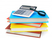 Books and school tools. On white background. — Stock Photo