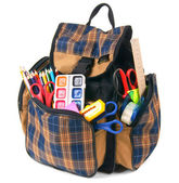 School backpack and school tools. — Stock Photo