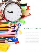 Szkoła narzędzia i akcesoria na białym tle. — Zdjęcie stockowe