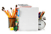 Notebook and school accessories. On white background. — Stock Photo