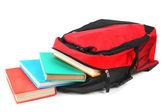 Okul sırt çantası ve kitaplar. — Stok fotoğraf