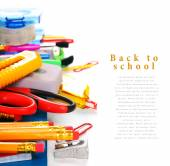 School tools and accessories on a white background. — Stock Photo