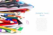 Escola ferramentas e acessórios em um fundo branco. — Fotografia Stock