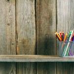 Pencils on a wooden shelf. — Foto de Stock