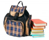 School backpack and books. — Stock Photo