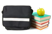School backpack, books and an apple. — Stock Photo