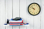 Watches, writing-books and school tools — Stock Photo