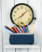 Watches and school tools. — Stock Photo
