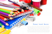 School tools and accessories on white background. — Stock Photo