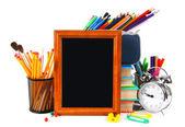 Kader en school tools. op witte achtergrond. — Stockfoto