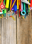 School tools. On wooden background. — 图库照片