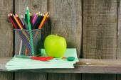 Apple and school accessories. — Stockfoto