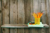 School accessories. On wooden background. — Photo
