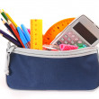 Bag with school tools on a white background. — Stock Photo #52987527