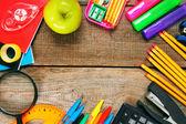 Back to school. School tools around. — Stock Photo