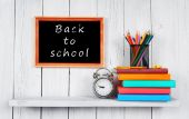 Back to school. Frame. Books and school tools. — Stock Photo
