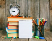 Notebook, books and school tools — Stock Photo