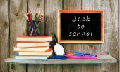 Back to school. Books and school tools . — Fotografia Stock