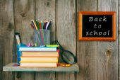 Back to school. Books and school tools . — Stockfoto