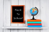 Back to school. The globe and books. — Stock Photo