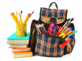 Books, school accessories and a backpack. — Stock Photo