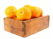 Oranges in an old box — Stock Photo