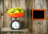 Pepper on scales — Stock Photo