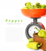 Pepper on scales and in a box. — Stock Photo