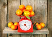Mandarinen auf skalen — Stockfoto