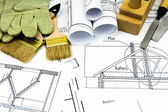 Joiners works. Drawings for building and working tools. — Stock Photo