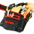 Many working tools in the carrying case on white background. — Stock Photo #67882837
