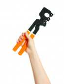 Pliers in hand on white background. — Stock Photo