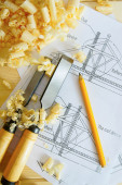 Woodworking. Drawings for building and working tools on wooden background. — Stock Photo