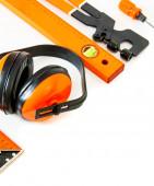 Orange style. Working tools on a white background. — Stock Photo