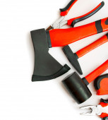 Many working tools - axe, hammer, pliers and others on white background. — Foto de Stock