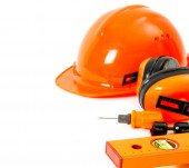 Orange style. Working tools on a white background. — Stock fotografie